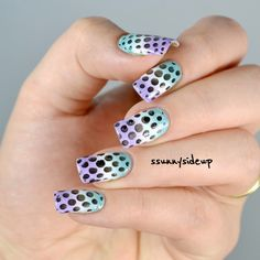 ssunnysideup: Polka dots and gradient with nicole by opi and china glaze and staping polish by essence