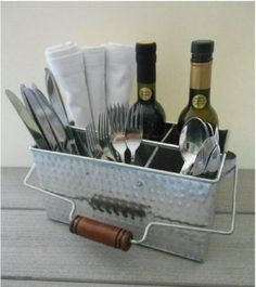 Silverware-Hammered-Metal-Storage-Caddy-Shabby-Chic-Flatware-Holder-With-Handle