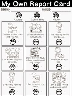 Pinterest Find :: Student Self-Reflection Report Card