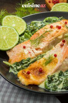 Une recette facile de pavés de saumon aux épinards pour 4 personnes. #recette#cuisine#saumon#epinard 20 Min, Healthy Meals, Skinny Kitchen