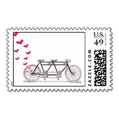 These custom postage stamps are just too cute for a Valentine's Bridal Shower.  Design features a Bicycle Built for Two with red Hearts.  Very modern and vintage at the same time!