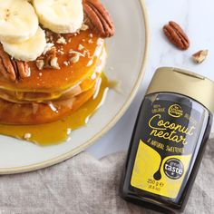Coconut Nectar is a plant-based, yummy alternative to honey, and can be enjoyed on maaany things, from porridge to pancakes 🥞 Coconut Nectar Recipes, Plant Based, Pancakes, Alternative, Honey, Organic, Canning, Breakfast, Food