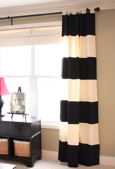 Bold Striped DIY Drapes {no sewing involved!} | The Yellow Cape Cod