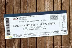 Kreative & ausgefallene Einladungskarte f. großartige Feiern. Individuell, personalisiert, perforiert, Hologramme, Konzertkarte als Einladungskarte, Rock`n`
