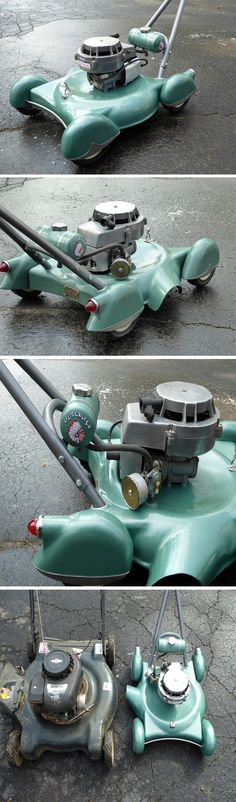 I can't take my eyes off how amazingly antiquated this lawnmower looks! This personal DIY project by a mysteryman named Jeep2003 on the internet pulled off this lawnmower revamp, giving it a beautiful retro finish, complete with a chrome trim, bullet taillights, and what I can't get enough of, a miniature Army Man figurine painted silver to look like what I imagine is the Spirit of Ecstacy remixed!
