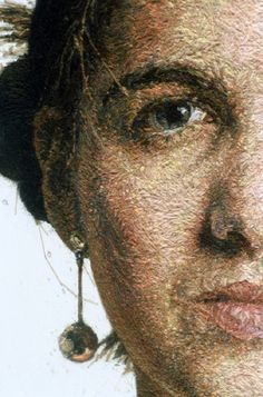 """Sophie (detail) wool thread and acrylic on linen. 14"""" high. """"I still consider myself a painter and find it difficult not to refer to these e..."""
