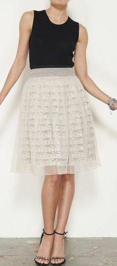 Prada Cream And Black Skirt