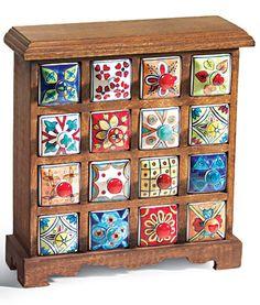 16 drawer ceramic storage chest, mango wood