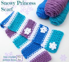 On Fiber Flux today, the Snowy Princess Scarf! Free crochet pattern for your little winter princess http://www.fiberfluxblog.com/2014/12/free-crochet-patternsnowy-princess-scarf.html