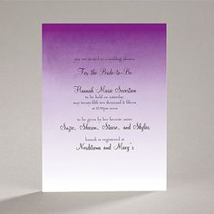 Sweet Shading - Purple - Bridal Shower Invitation
