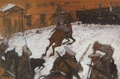Valentin Serov (Russian 1865–1911) [Impressionism, Realism, Peredvizhniki, Portraits] Soldiers, Soldiers, Heroes Every One, 1905.