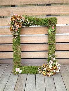 Mossed picture frame perfect for guest photobooth www.wildorchidweddingflowers.co.uk