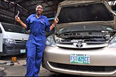 In Nigeria, more than 60% of the population lives below the poverty level. Most girls go into prostitution to survive. Sandra Aguebor-Ekperouh, founded Nigeria's Lady Mechanic Initiative, to teach girls/women how to work on cars. So far, she's trained more than 700 female mechanics. Fantastic. The photo is of a girl who was a prostitute, and is now a mechanic.