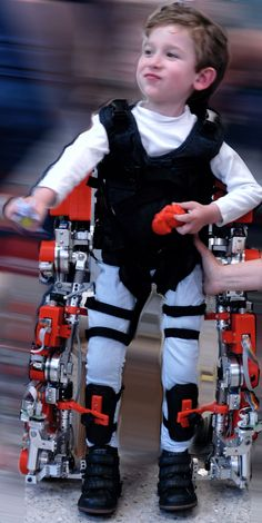 A Spanish Public Company, Marsi-Bionics, creates an exoskeleton for children.  Alvaro, five years old, with spinal muscular atrophy (SMA) has been one of the first to try.  I love his face of pride!