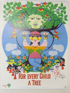 This poster was designed by the wonderful Bjorn Wiinblad which he donated to Plant a Tree in support of their work .  Wiinblad produced hundreds of