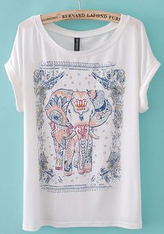White Elephant Print Short Sleeve Cotton Blend T-Shirt