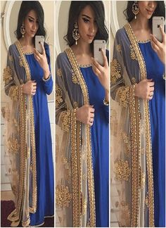 Blue Silk embroidery semi-stitched Salwar suit with Dupatta