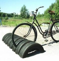 homemade bike rack with old tires