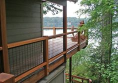 - infill-panels When the time comes I'd love to redo the deck railing with wire mesh.:When the time comes I'd love to redo the deck railing with wire mesh. Wire Deck Railing, Stair Railing, Hog Wire Fence, Patio Stairs, Loft Railing, Cable Railing, Deck Skirting, Grades, House Deck