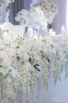 WedLuxe– A White Wisteria and Silver Sparkle Dream | Photography by LifeImages. Follow @WedLuxe for more wedding inspiration! Head Table Wedding, Wedding Table Flowers, White Wedding Flowers, Wedding Flower Arrangements, Wedding Centerpieces, Floral Wedding, Wedding Bouquets, Wedding Ceremony, Wedding Decorations