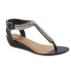 Black diamante low wedge sandals - Sandals   flip flops - Shoes   boots -  Women bcd78412b277