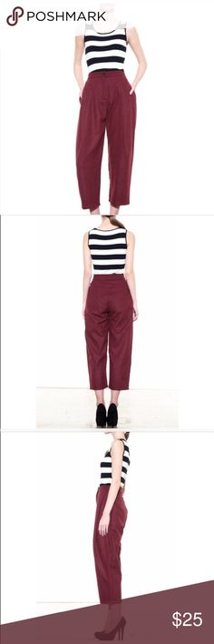 Style Mafia Maroon pleated pant The 30s are coming back! 100% wool but is fully lined! These pants would be great for fall.  Great condition.  Any questions please ask  Style Mafia Pants Ankle & Cropped