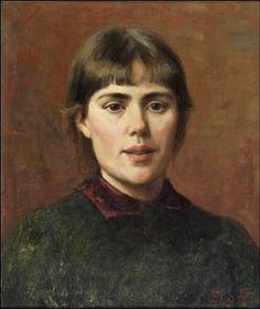 Self portrait, Finnish artist ELIN K. DANIELSON-GAMBOGI (1861-1919), Omakuva