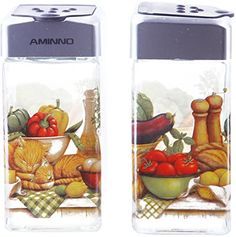 Salt and Pepper Shakers  Elegant Designed Glass Decorative Fruit and Vegetable Decor Stainless Steel Tops  33oz  2 Piece Set 175 x 175 x 375 inches -- Check this awesome product by going to the link at the image. Note:It is Affiliate Link to Amazon.