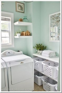 Mint green laundry room. Use leftover paint from kitchen?