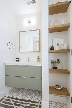 Best New Home Modern Farmhouse Gets the Big Things Right - Fine Homebuilding Upstairs Bathrooms, Small Bathroom, Master Bathroom, Ikea Hack Bathroom, Ikea Bathroom Vanity, Remodled Bathrooms, Modern White Bathroom, Black White Bathrooms, Bathroom Tub Shower