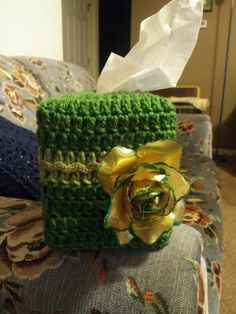 Crochet Tissue Box Cover_St Patrick's Day Themed