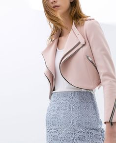 {CROPPED JACKET WITH ZIPS IN PINK - ZARA - Spring 2014}