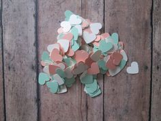 Set of 300 Peach and Mint Mini Hearts Confetti by MoosesCreations