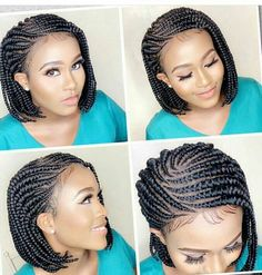 Braided wig/ Ghana Weaving/ lace wig /wig Feature: Neatly and Tightly Done, Glue-less, Adjustable St Short Box Braids, Bob Braids, Blonde Box Braids, Braids Wig, Braids For Black Hair, Twist Braids, Twists, Box Braids Hairstyles, Black Hairstyles
