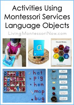 Montessori-inspired activities for a variety of levels using Montessori Services language objects (post includes links to a number of roundups with DIY Montessori phonics materials and presentation ideas)