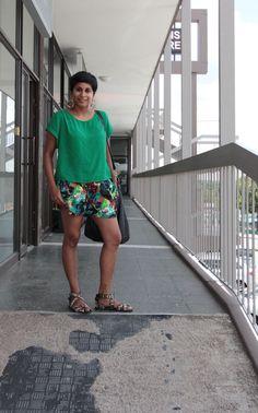 life+style: floral shorts, leopard gladiators