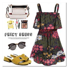"""""""Print Dress"""" by oshint ❤ liked on Polyvore featuring Versace, Clinique, Charlotte Tilbury and Illesteva"""