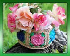 Mis Pasatiempos  Amo el Crochet: Cesta de motivos con flores
