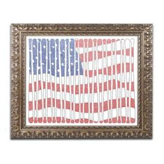 Trademark Fine Art 'America?s Pastime' Canvas Art by Viz Art Ink, Gold Ornate Frame, Assorted