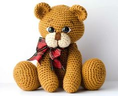 Adorable crochet teddy bear pattern.  So easy to make.  Love this crochet bear to pieces!