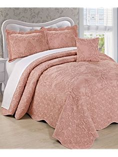 Girls Dusty Salmon Pink Oversized Bedspread King Floor Set, Extra Long Floral Damask Bedding Drops Over Edge Bed Wide French Country Pattern Embroidered Stitching Classic, Polyester Damask Bedding, Comforter Sets, Rustic Bedding, Oversized King Comforter, Quilted Bedspreads, Chenille Bedspread, King Pillows, Beds For Sale, Bnf
