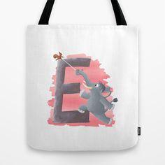 E comme Eléphant Tote Bag by Dinett illustration - $22.00