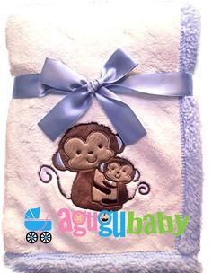 Pocket Monkey Baby Comfy Blanket Mini Blanket,Monkeys on Soft Blue Flannel