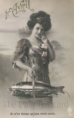 Vintage postcard April Fish
