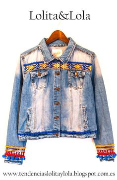 Cazadora vaquera, donde se mezclan cintas indias Denim jacket, where pigs are mixed tapes Denim Fashion, Boho Fashion, Fashion Outfits, Denim Boho, Jean 1, Queen Outfit, Mode Jeans, Patched Jeans, Embroidered Jacket