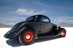 """34 Ford Chopped 3 Window Coupe on the Utah Ancient Lake: """"Bonneville"""" Salt Flats"""