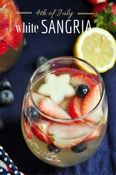 of July White Sangria. Strawberries pears and blueberries boasted by Moscato tonic water lemon juice and a gentle touch of Gin makes the perfect white sangria! Fourth Of July Drinks, 4th Of July Party, July 4th, Patriotic Party, Patriotic Desserts, Pavlova, Fun Drinks, Yummy Drinks, Beverages