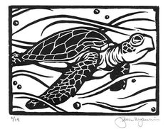 "Under the sea wall art. ""Sea Turtle"" Original Block Print by JamesMojonnier on Etsy, $50.00"