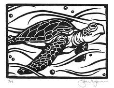 "Under the sea wall art.  ""Sea Turtle"" Original Block Print by JamesMojonnier on Etsy, $50.00"