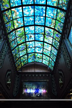 Stained glass ceiling inside the temple at Prabhupada's Palace of God and City of Gold in New Vrindaban, West Virginia
